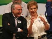 """Marta e o vice-presidente durante a filiação: """"Olhei nos olhos do Michel Temer e senti confiança""""."""