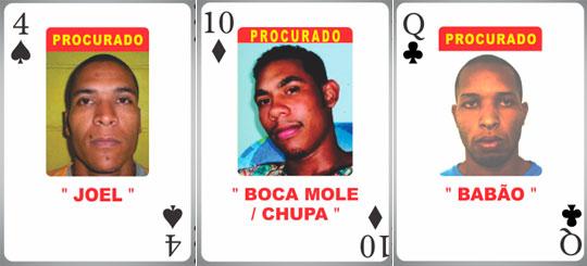 Joel Costa, Washington Davi e Ricardo Silva serão retirados do novo baralho, já que dois foram presos e um está morto