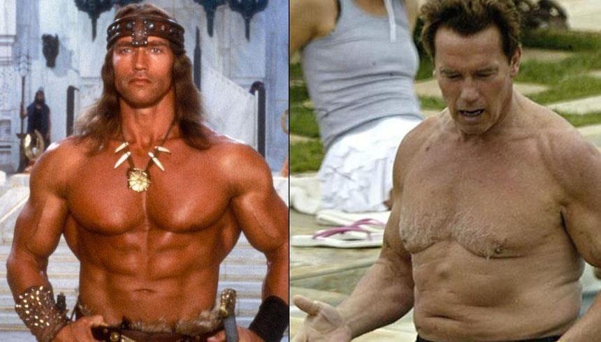 Arnold Schwarzenegger: o astro dos filmes de ação dos anos 80 e 90 também não manteve a boa forma de fisiculturista e a idade venceu novamente FOTO: Reprodução