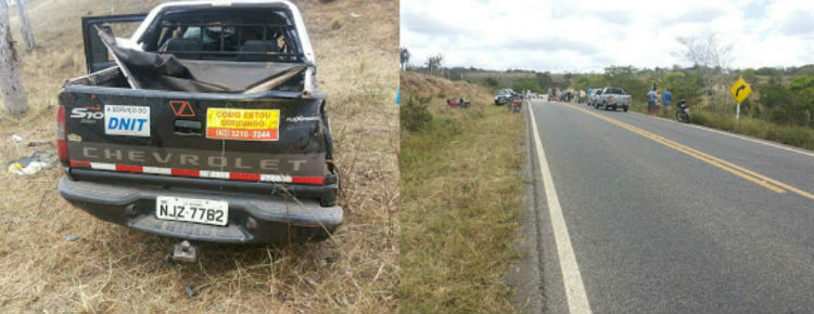 Adesivo indica que a caminhonete estava a serviço do Departamento Nacional de Infraestrutura de Transportes, DNIT Local do acidente tem asfalto bom, com sinalização clara(Foto: Augusto Urgente)