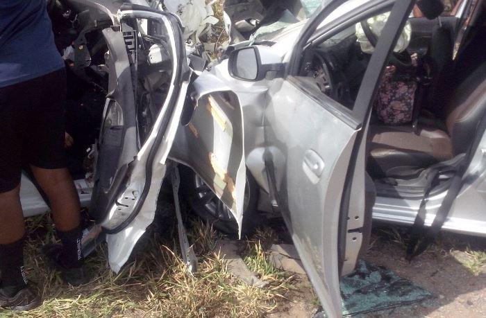 foto via whatsapp acidente próximo a Tanquinho 1