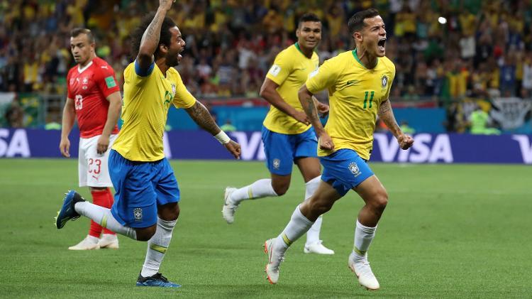 philippe coutinho comemora gol do brasil diante da suica em jogo pela copa do mundo de 2018