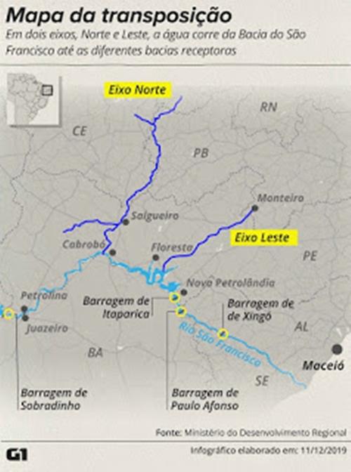 A obra da transposição do Rio São Francisco está perto da conclusão após 12 anos de trabalho e 7 de atraso.