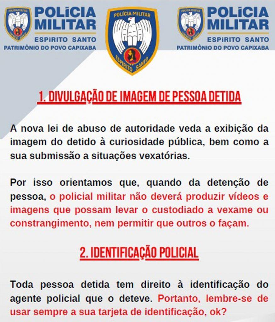 PM do Espírito Santo faz cartilha 'lembrando' policiais de usar a identificação profissional e para não divulgarem imagens de pressos — Foto: Reprodução